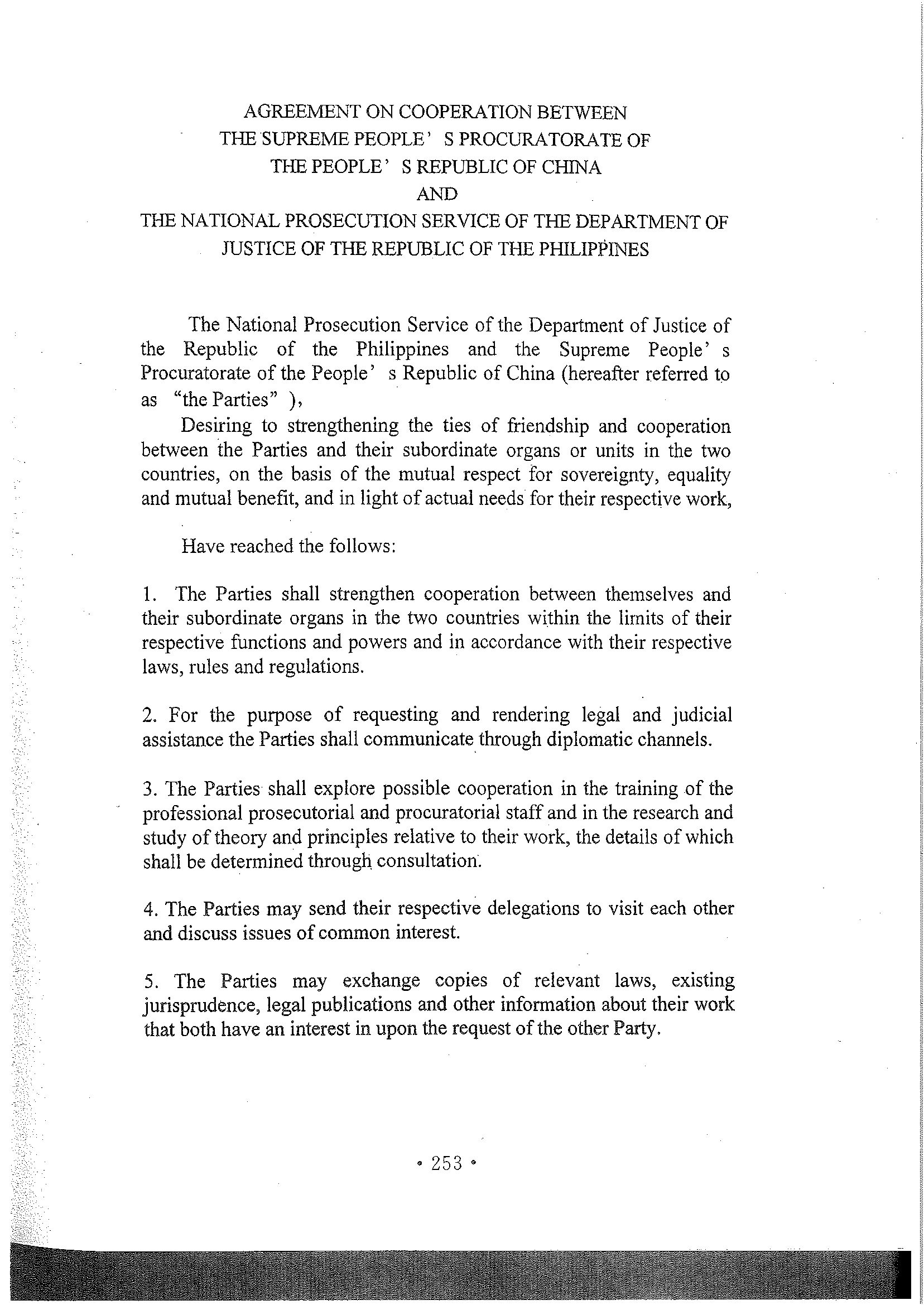 Agreement On Cooperation Between The Supreme Peopleu0027s Procuratorate Of P.R  China And The National Prosecution Service Of The Department Of Justice Of  The ...